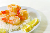 Shrimp on rice — Stock Photo
