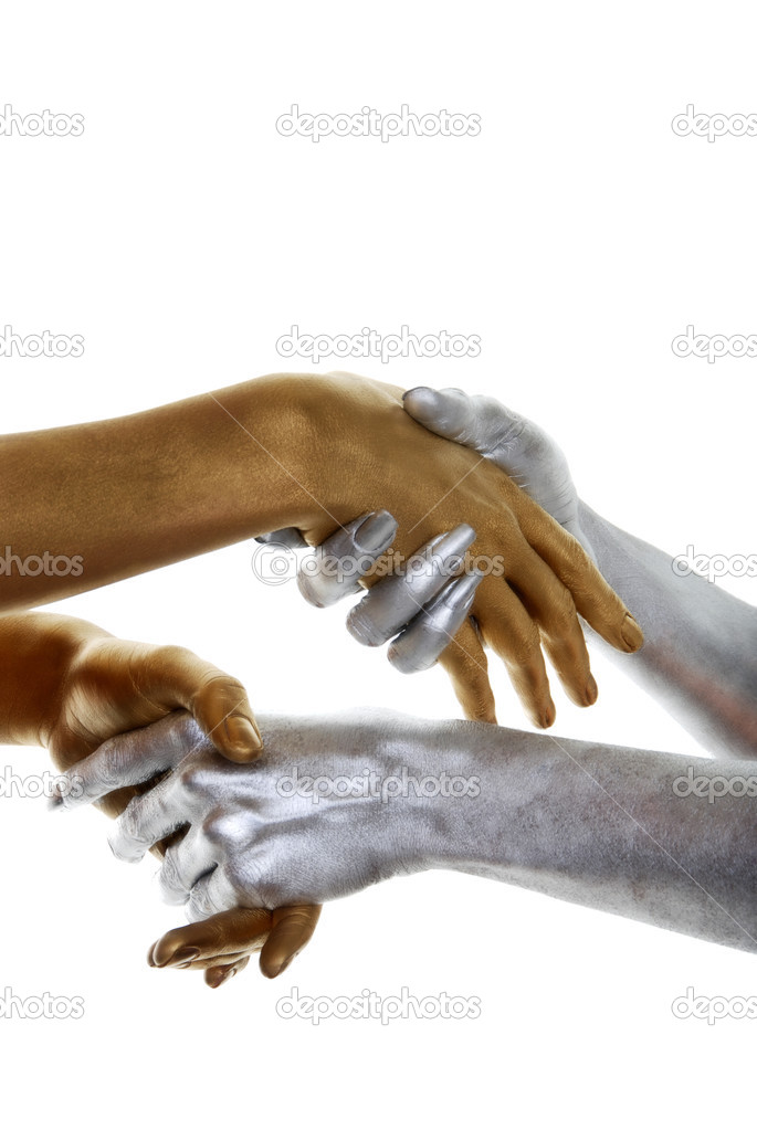 Isolated gold and silver hands on white background   Stock Photo #3444452