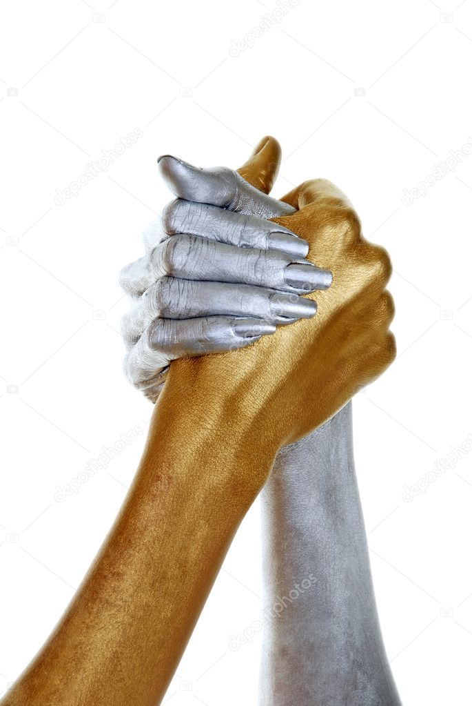 Isolated gold and silver hands joined on white background  — Stock Photo #3444463