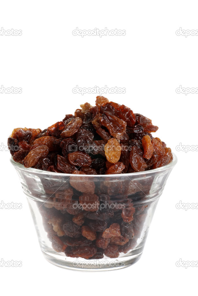 Isolated bowl of raisins on white background  — Stock Photo #3444760