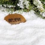 Snow with believe stone — Stock Photo