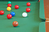 Snooker balls focus on white cue ball — Stock Photo