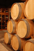Wine stored in barrels — Stock Photo