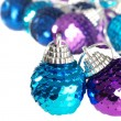 Blue and purple christmas ornament shallow DOF — Stock Photo