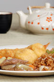 Chinese food with tea set — Stock Photo