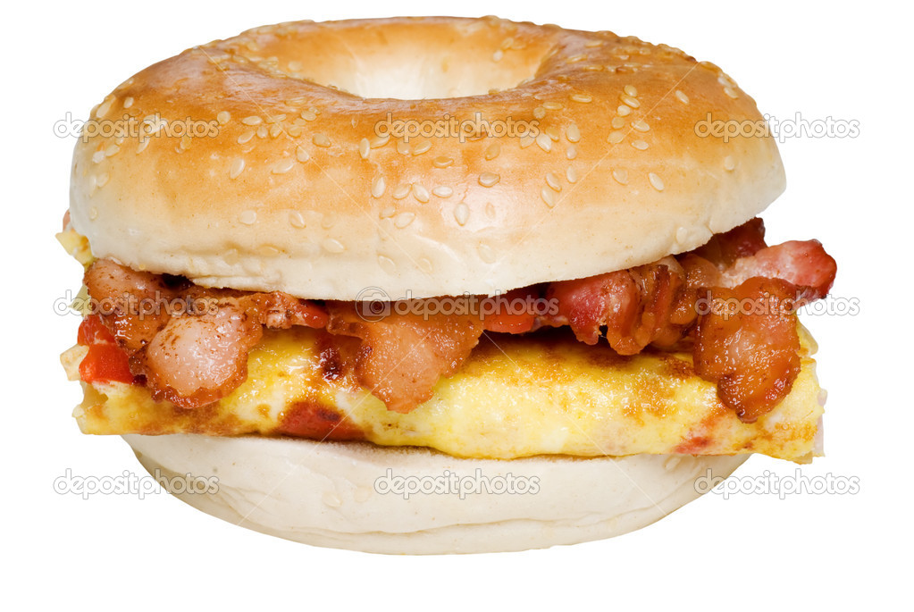 Isolated Bagel Omelet and bacon  sandwich close up on white background   Stock Photo #3774230