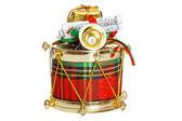 Isolated decorated christmas drum — Stock Photo