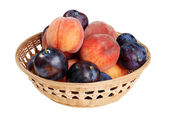 Wicker basket of peaches and plums — Stock Photo