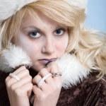 mujer sexy hielo frío — Foto de Stock