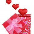 Royalty-Free Stock Photo: Valentines gift box with red hearts flying out