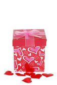 Caixa com corações vermelhos de presente de dia dos namorados — Foto Stock