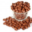 Bowl of chocolate covered raisins — Stock Photo