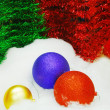 Red Blue Gold Christmas Balls - Foto Stock