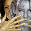 Silver and gold woman — Stock Photo