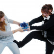 Sisters fighting over a present — Stock Photo