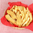 Top view chicken fingers and french fries — Stock Photo