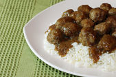 Meatballs and Rice — Stock Photo