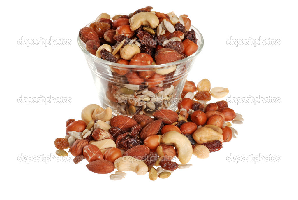 Isolated bowl of trail mix on white background  — Zdjęcie stockowe #3858765