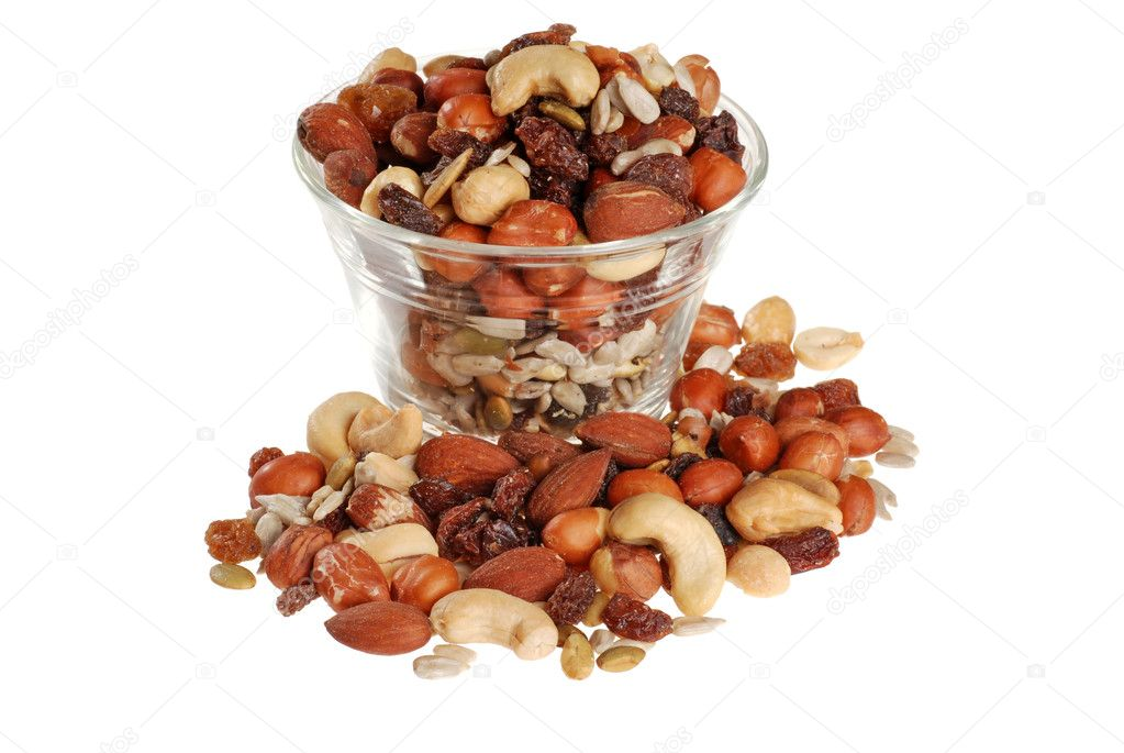 Isolated bowl of trail mix on white background  — Stock Photo #3858765