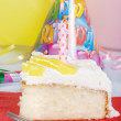 Lemon birthday cake with fork — Stock Photo