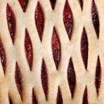 makro jordgubbs paj topp — Stockfoto
