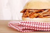 Macro pulled pork sandwich — Stock Photo
