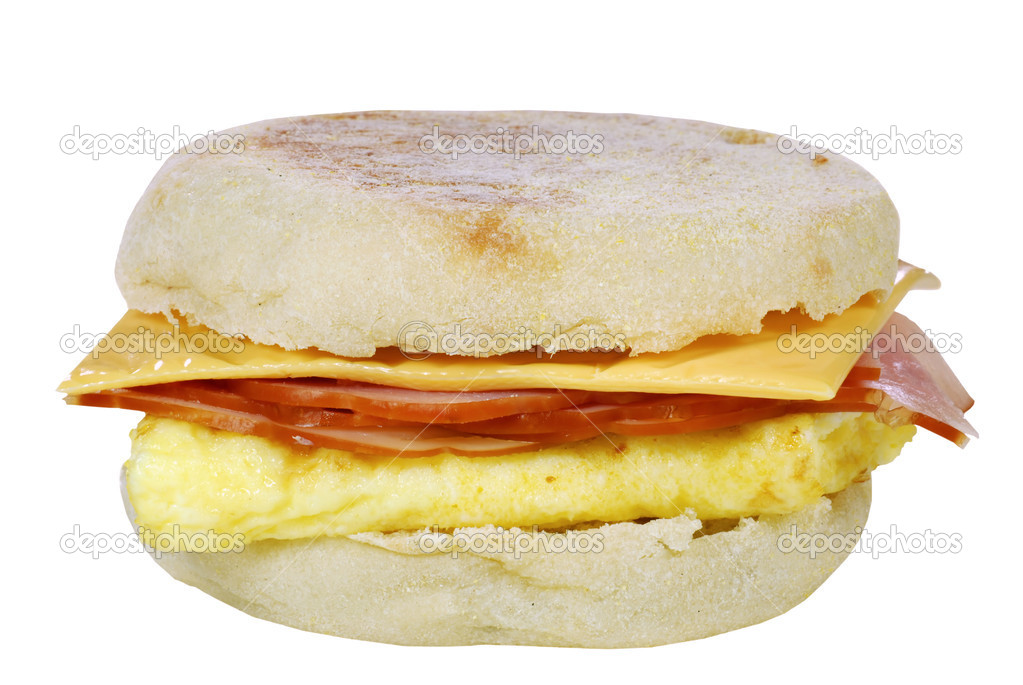 Isolated scrambled egg ham cheese sandwich on white background   Stock Photo #3893008