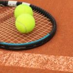 Tennis ball on Tennis court — Stock Photo #3452391