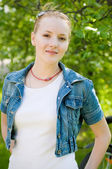 Outdoor portrait of young woman — Stock Photo