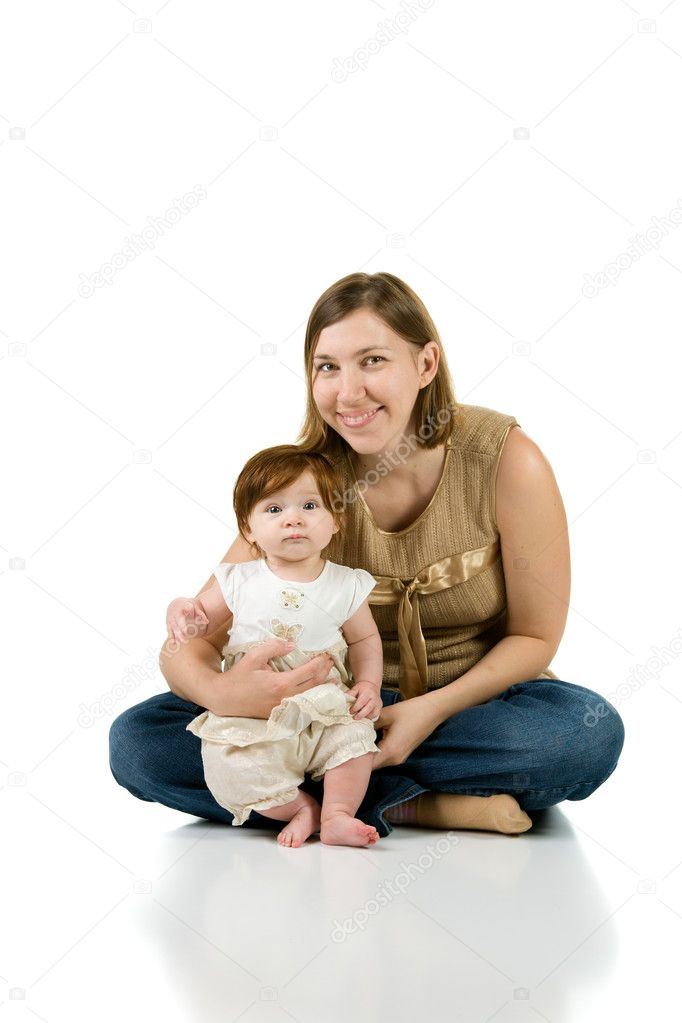 Portrait of young mother with her baby girl. Isolated on white background — Stock Photo #2828416