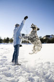 Spelen in de sneeuw — Stockfoto