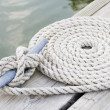 Stock Photo: Coiled mooring line