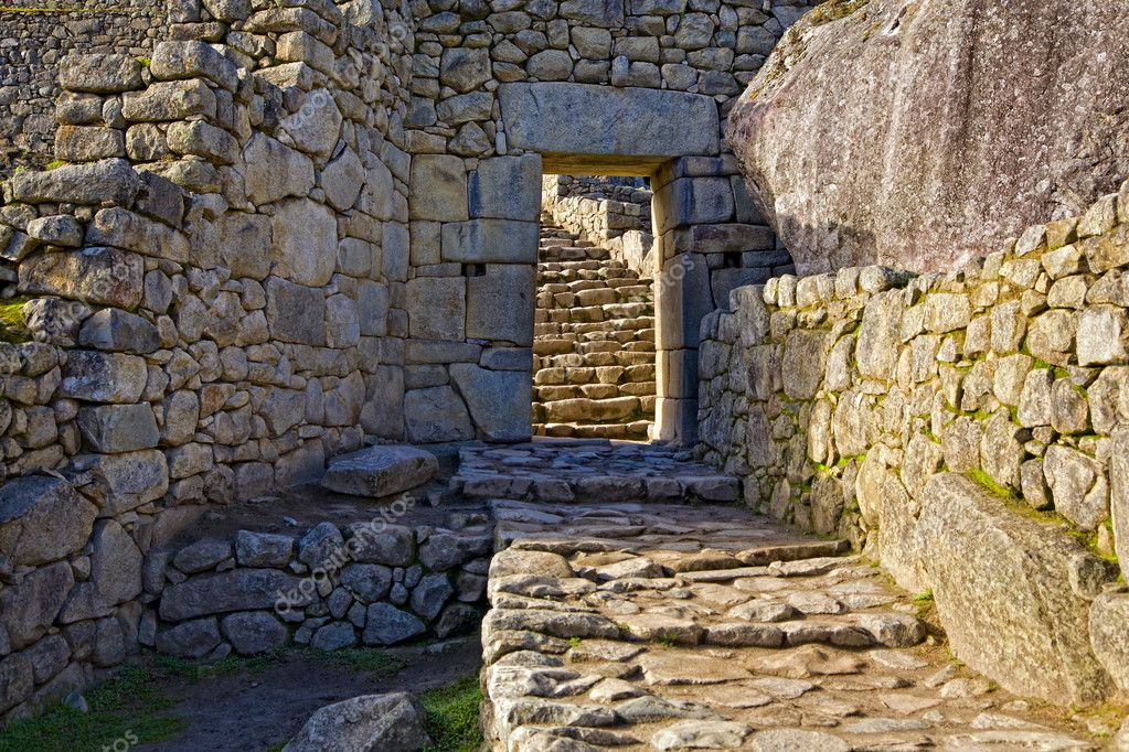 Fragment of stone gallery at Machu Picchu, Peru — Stock Photo #2936681