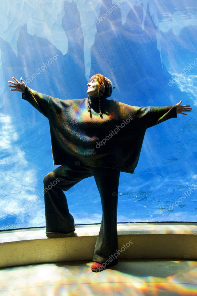 There is something really big swimming in that aquarium.  Stock Photo #3000405