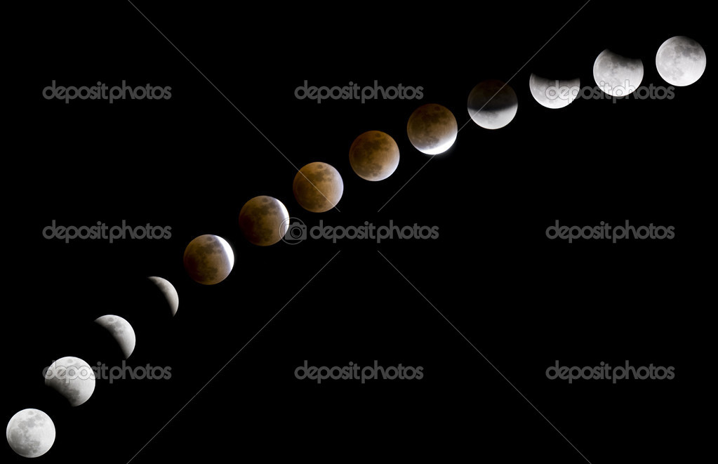 Phases of full lunar eclipse occurred on February 20, 2008  Stock Photo #3000451