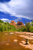 Cathedral Rock and Oak Creek — Stock Photo