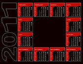 Calendar 2011 on black — Stock Vector