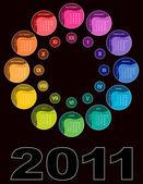 Colorful circular calendar 2011 — Stock Vector