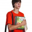 The boy with books — Stock Photo
