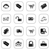 Sale and shopping icons - BW series — Stock Vector