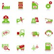 Industry icons, green-red series — Stock Vector