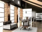 Ein wohnzimmer mit einer restaurants zone — Stockfoto