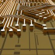 Stock Photo: Board - Traces - 3D