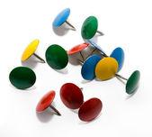 Färgade push pins — Stockfoto