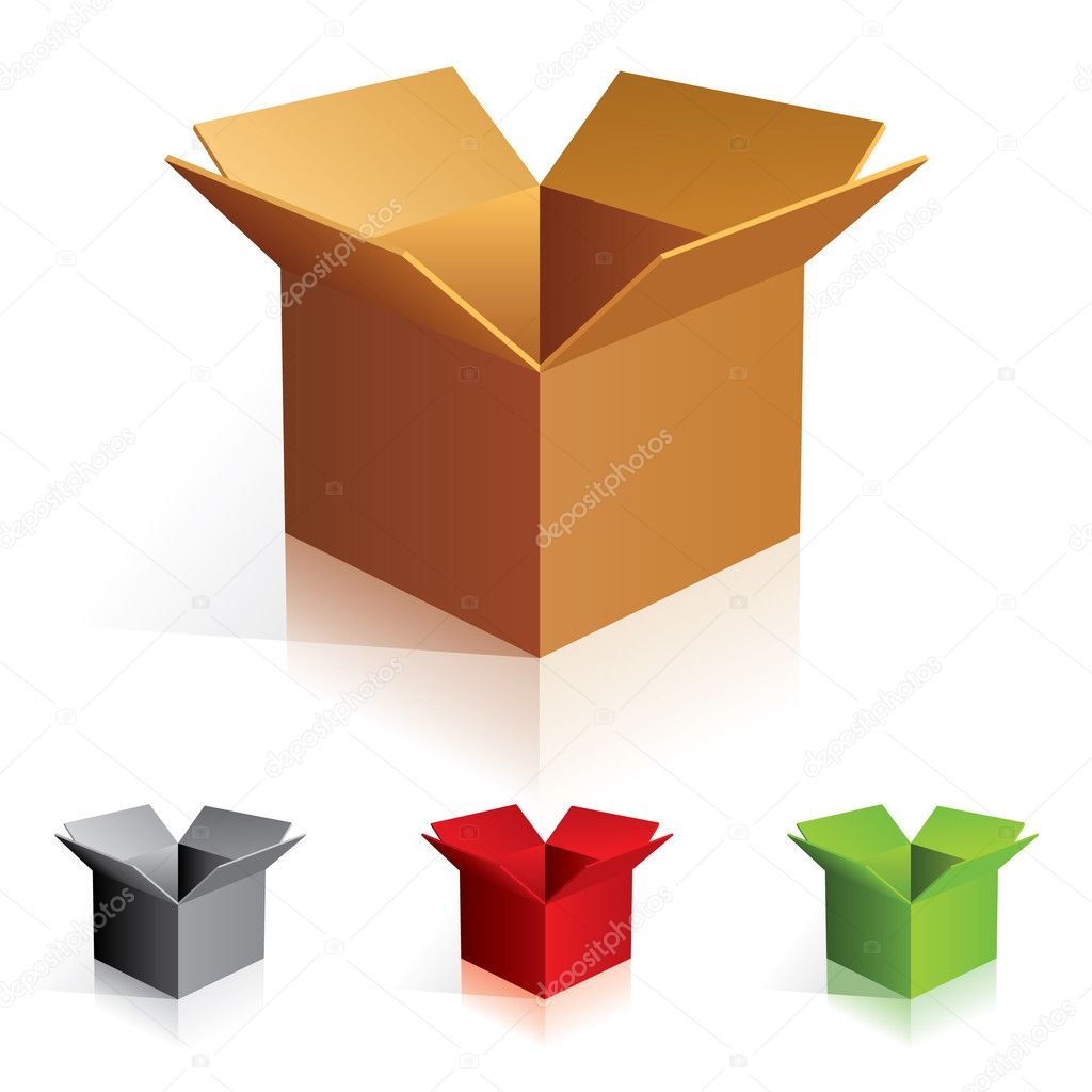 Illustraion of open color cardboard boxes. For design.  Stock Vector #3214314