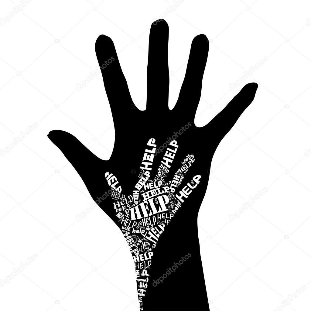 Conceptual black and white vector illustration - Hand of Help.  Stock Vector #3283570