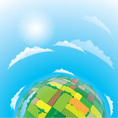 Earth globe with agricultural fields — Stock Vector