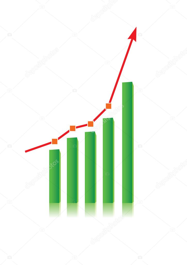 Illustration of growing bull trend chart on white background — Stock Vector #3312654