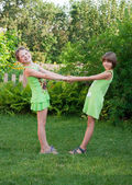 Two little dancing girl — Stock Photo