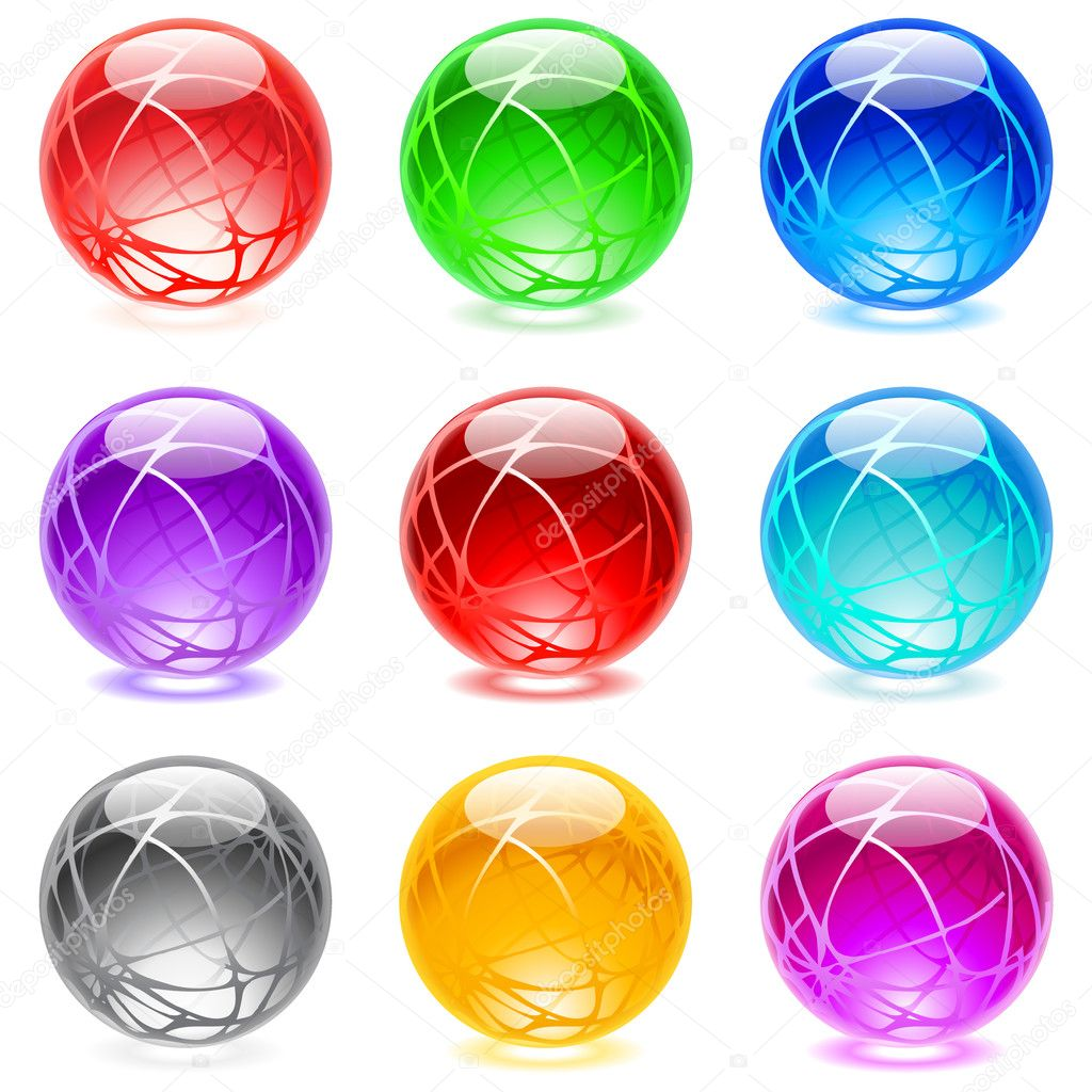 Collection of colorful glossy spheres isolated on white. Set #18. — Stock Vector #3670831